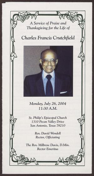 [Funeral Program for Charles Francis Crutchfield, July 26, 2004]