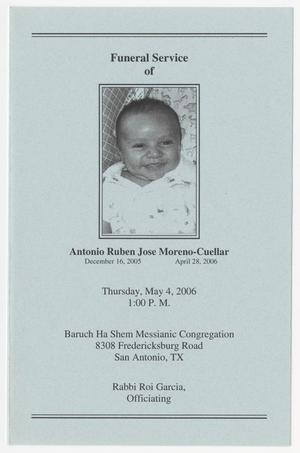 [Funeral Program for Antonio Ruben Jose Moreno-Cuellar, May 4, 2006]