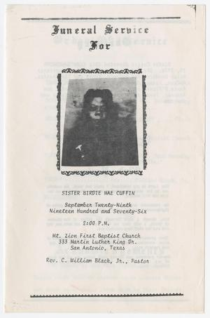 [Funeral Program for Birdie Mae Cuffin, September 29, 1976]