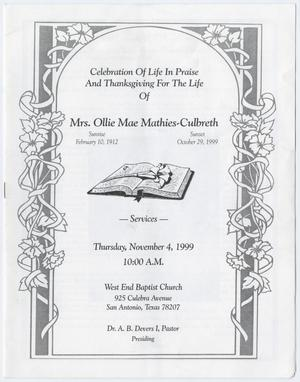 [Funeral Program for Ollie Mae Maties-Culbreth, November 4, 1999]