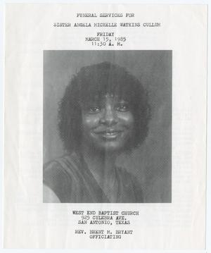 Primary view of object titled '[Funeral Program for Angela Michelle Watkins Cullum, March 15, 1985]'.