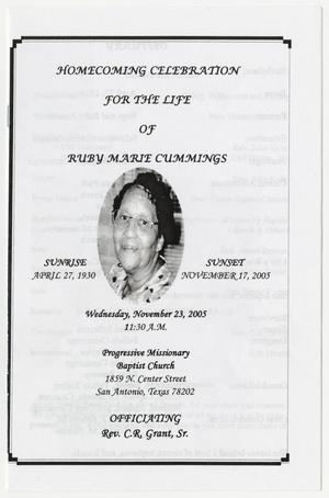 Primary view of object titled '[Funeral Program for Ruby Marie Cummings, November 23, 2005]'.