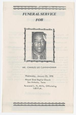 Primary view of object titled '[Funeral Program for Charles Lee Cunningham, January 25, 1978]'.