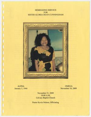 [Funeral Program for Gloria Dean Cunningham, November 21, 2009]