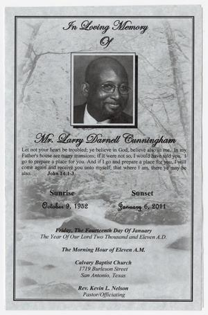 Primary view of object titled '[Funeral Program for Larry Darnell Cunningham, January 14, 2011]'.