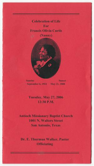 Primary view of object titled '[Funeral Program for Francis Olivia Curtis, May 27, 2006]'.