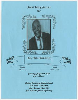 Primary view of object titled '[Funeral Program for Jodie Daniels, Jr., August 25, 2007]'.