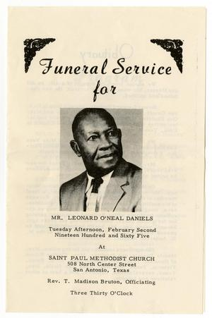 Primary view of object titled '[Funeral Program for Leonard O'Neal Daniels, February 2, 1965]'.