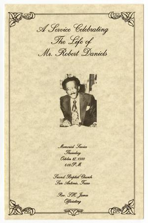 Primary view of object titled '[Funeral Program for Robert Daniels, October 27, 1988]'.