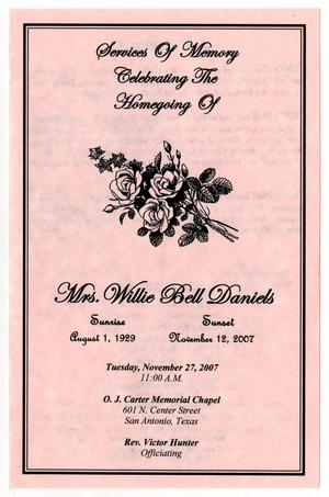 Primary view of object titled '[Funeral Program for Willie Bell Daniels, November 27, 2007]'.