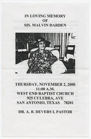 Primary view of object titled '[Funeral Program for Sister Malvin Darden, November 2, 2000]'.