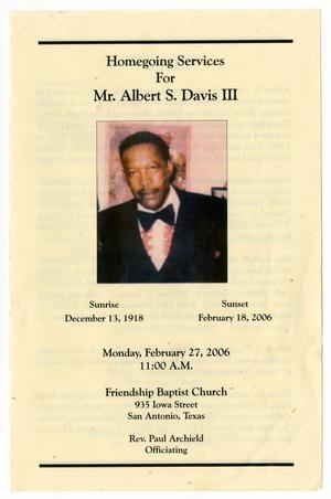 Primary view of object titled '[Funeral Program for Albert S. Davis III, February 27, 2006]'.