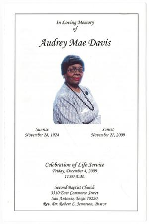 [Funeral Program for Audrey Mae Davis, December 4, 2009]