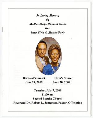 [Funeral Program for Bernard Davis and Elvia L. Martin-Davis, July 7, 2009]
