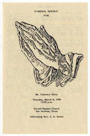 Primary view of object titled '[Funeral Program for Clarence Davis, March 8, 1990]'.