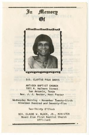 Primary view of object titled '[Funeral Program for Claytie Polk Davis, November 26,1975]'.