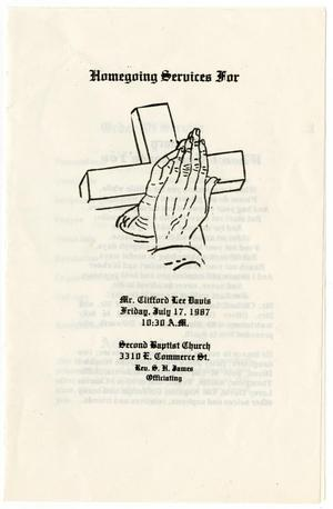 Primary view of object titled '[Funeral Program for Clifford Lee Davis, July 17, 1987]'.