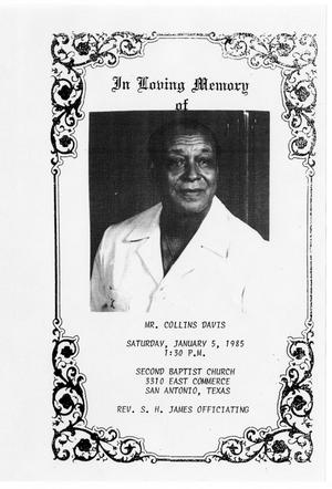 Primary view of object titled '[Funeral Program for Collins Davis, January 5, 1985]'.