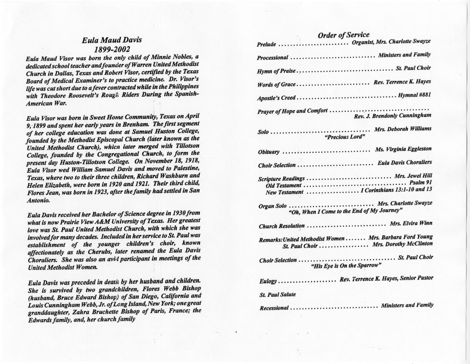 [Funeral Program for Eula Maud Davis, August 6, 2002] - Page 2 of 3 - The Portal to Texas History