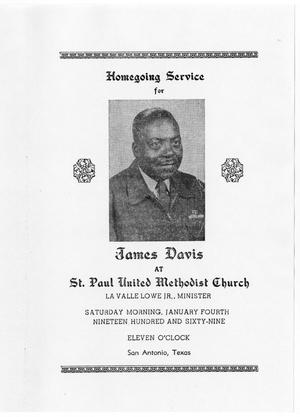 Primary view of object titled '[Funeral Program for James Davis, January 4, 1969]'.