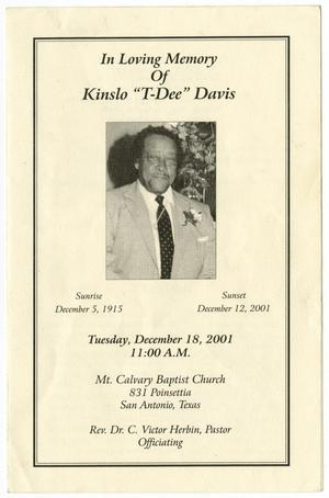 Primary view of object titled '[Funeral Program for Kinslo Davis, December 18, 2001]'.