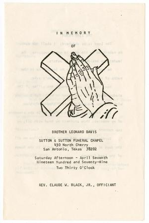 Primary view of object titled '[Funeral Program for Leonard Davis, April 7, 1979]'.