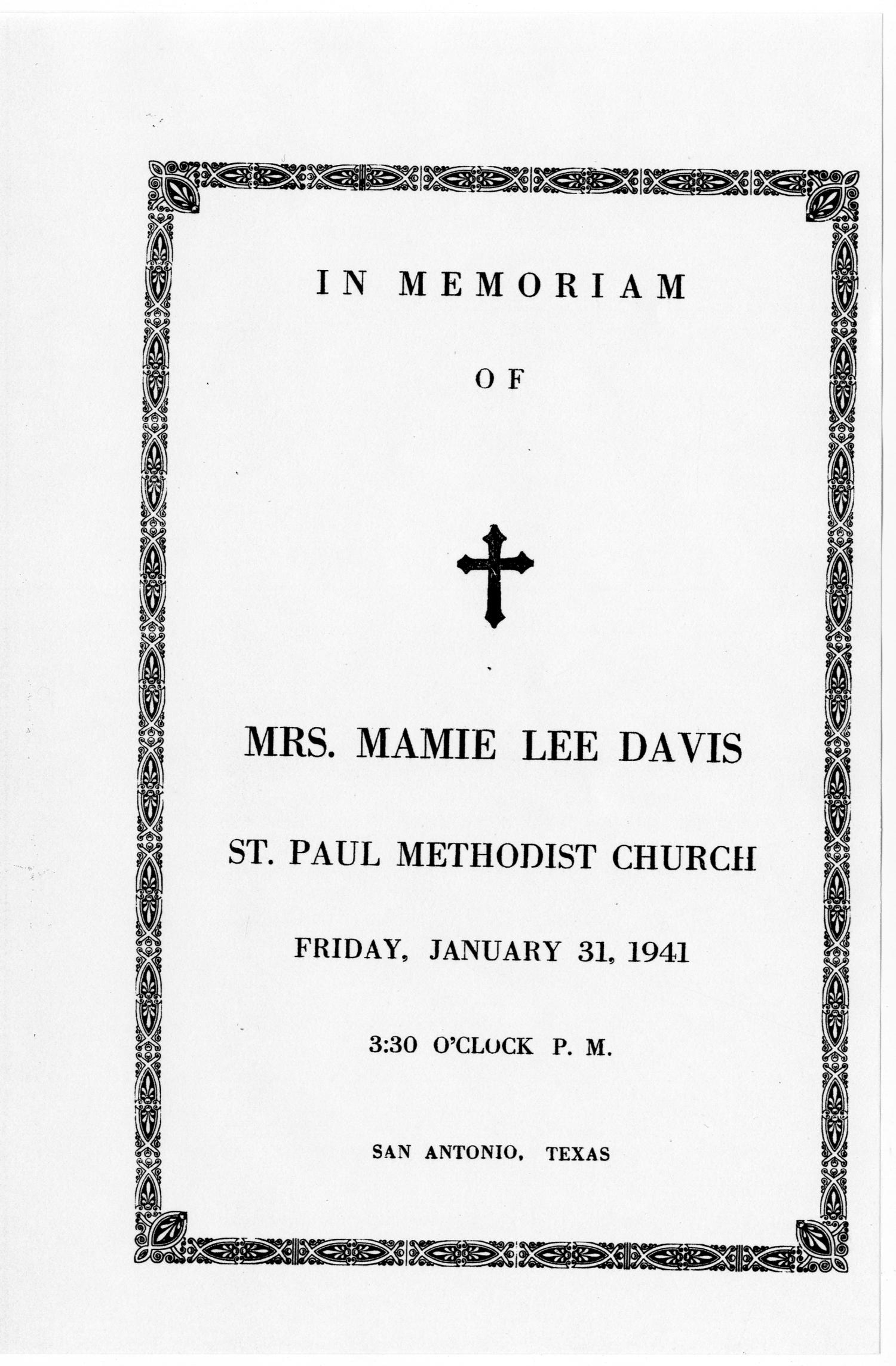 [Funeral Program for Mrs. Mamie Lee Davis, January 31, 1941]                                                                                                      [Sequence #]: 1 of 3
