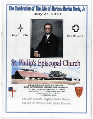 Primary view of object titled '[Funeral Program for Marcus Marion Davis, Jr., July 23, 2010]'.