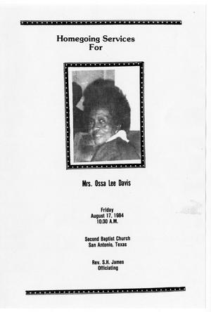 Primary view of object titled '[Funeral Program for Ossa Lee Davis, August 17, 1984]'.