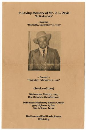 Primary view of object titled '[Funeral Program for U. L. Davis, March 5, 1997]'.
