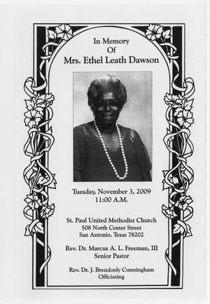 Primary view of object titled '[Funeral Program for Mrs. Ethel Leath Dawson, November 3, 2009]'.