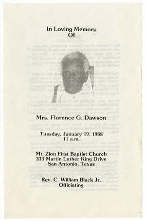 Primary view of object titled '[Funeral Program for Mrs. Florence G. Dawson, January 19, 1988]'.