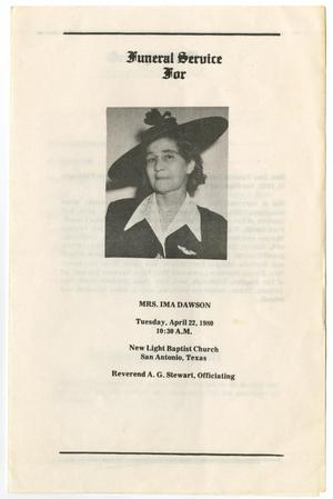 Primary view of object titled '[Funeral Program for Ima Dawson, April 22, 1980]'.