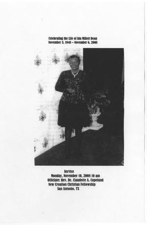 Primary view of object titled '[Funeral Program for Ida Millett Dean, November 10, 2008]'.