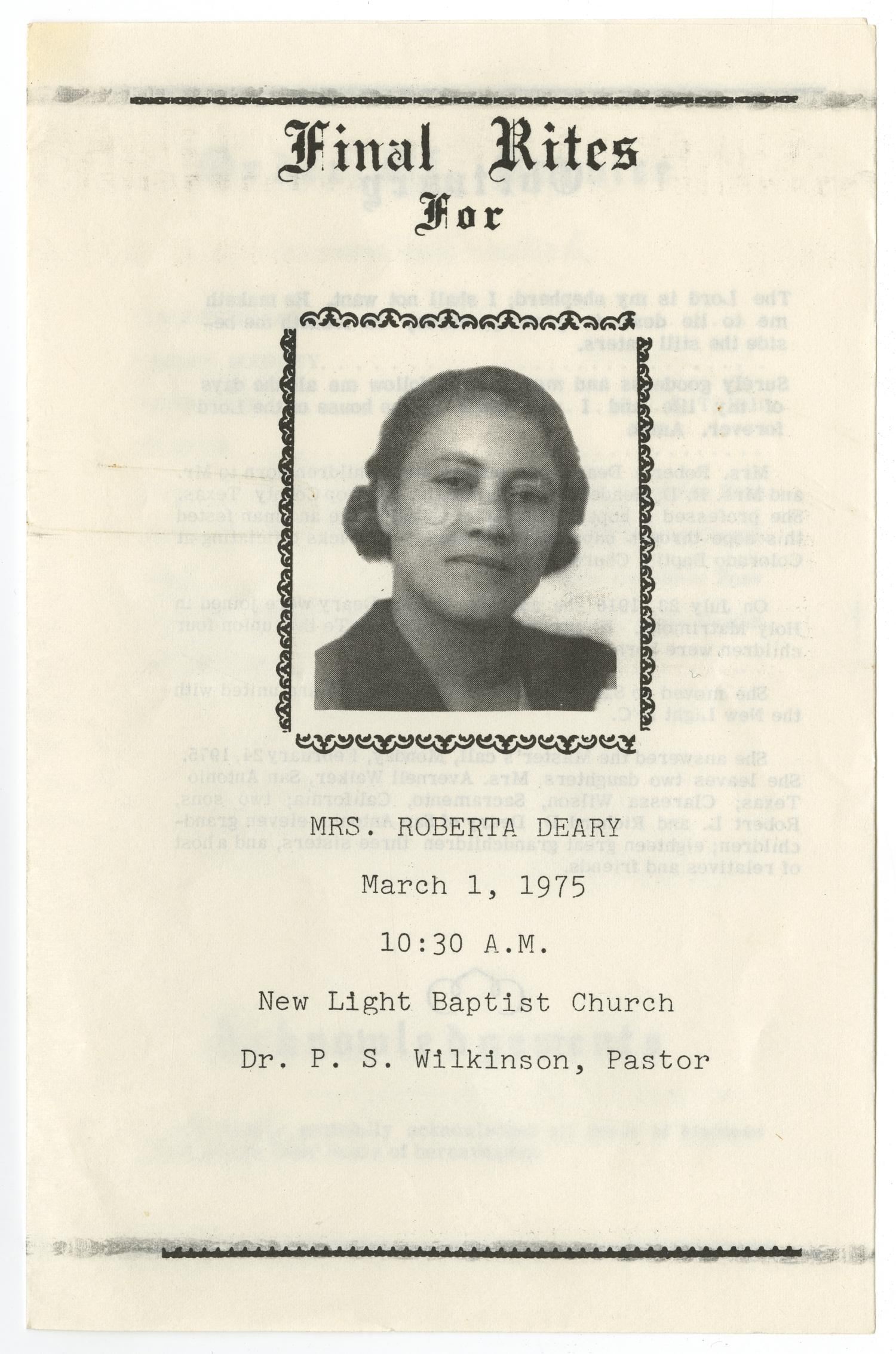 [Funeral Program for Roberta Deary, March 1, 1975]                                                                                                      [Sequence #]: 1 of 3