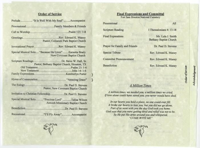 [Funeral Program for Mattie Beatrice DeBose, July 31, 2006 ...