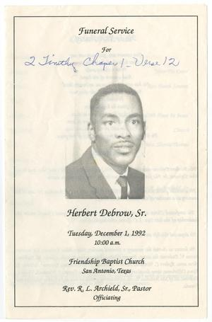 Primary view of object titled '[Funeral Program for Herbert Debrow, Sr., December 1, 1992]'.