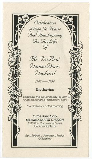Primary view of object titled '[Funeral Program for DeBra' D. Deckard, July 11, 1998]'.