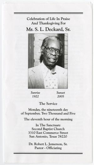 Primary view of object titled '[Funeral Program for S. L. Deckard, Sr., September 19, 2005]'.