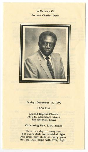 Primary view of object titled '[Funeral Program for Sornnie Charles Deen, December 14, 1990]'.