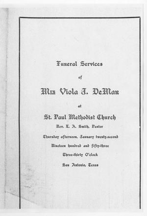 Primary view of object titled '[Funeral Program for Viola J. DeMan, January 22, 1953]'.