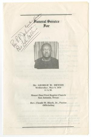 Primary view of object titled '[Funeral Program for George W. Dennis, May 9, 1979]'.