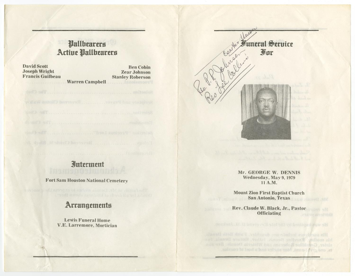 [Funeral Program for George W. Dennis, May 9, 1979]                                                                                                      [Sequence #]: 3 of 3