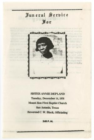 Primary view of object titled '[Funeral Program for Annie Depland, December 14, 1976]'.