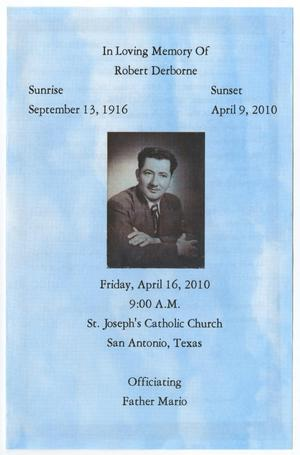 [Funeral Program for Robert Derborne, April 16, 2010]