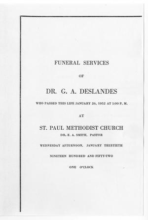 Primary view of object titled '[Funeral Program for G. A. Deslandes, January 30, 1952]'.