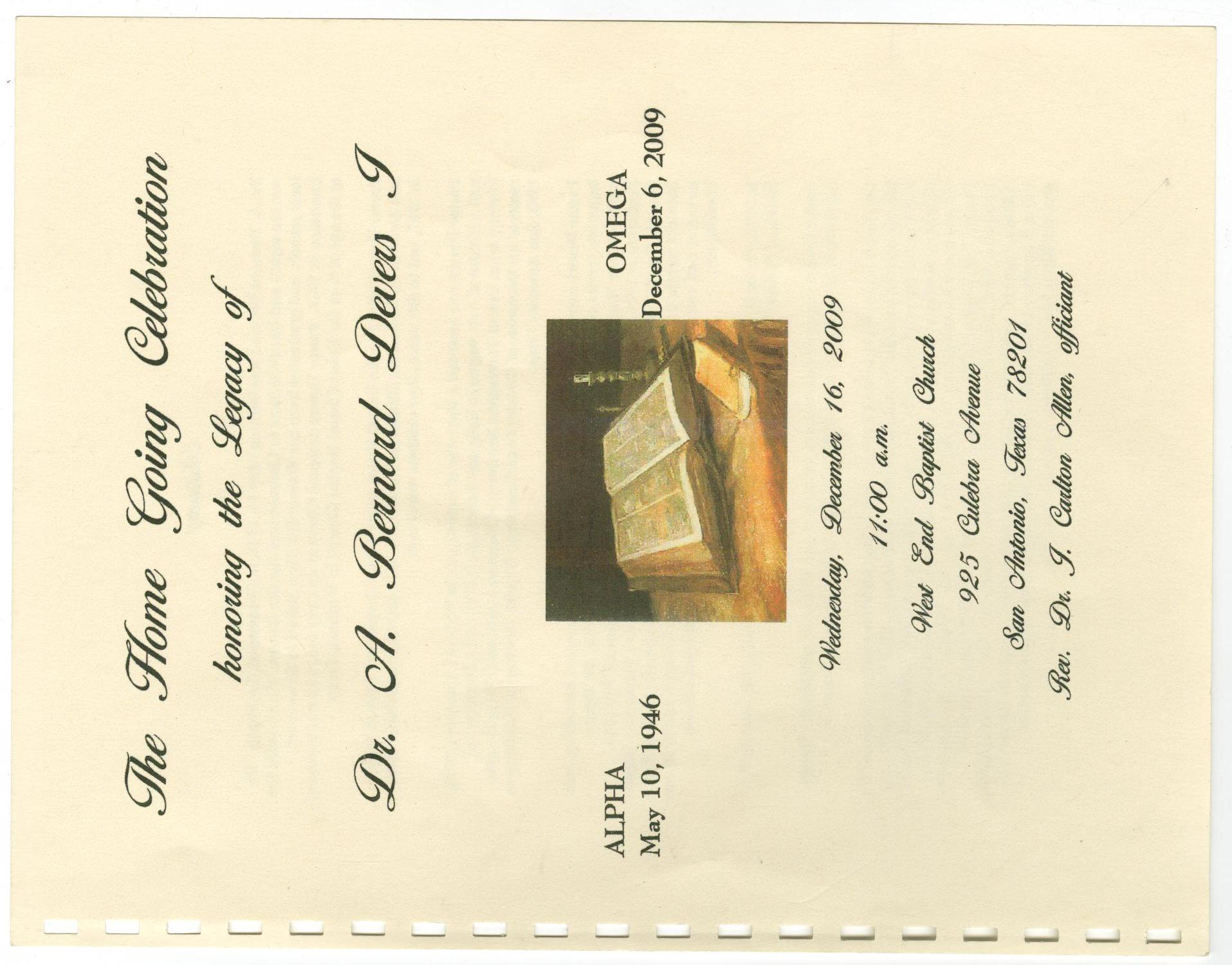 [Funeral Program for A. Bernard Devers I, December 16, 2009]                                                                                                      [Sequence #]: 1 of 12