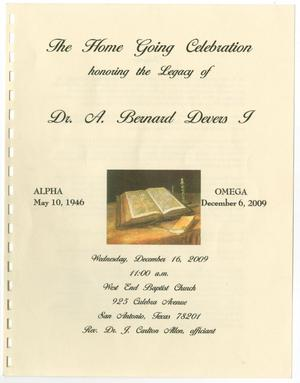 Primary view of object titled '[Funeral Program for A. Bernard Devers I, December 16, 2009]'.