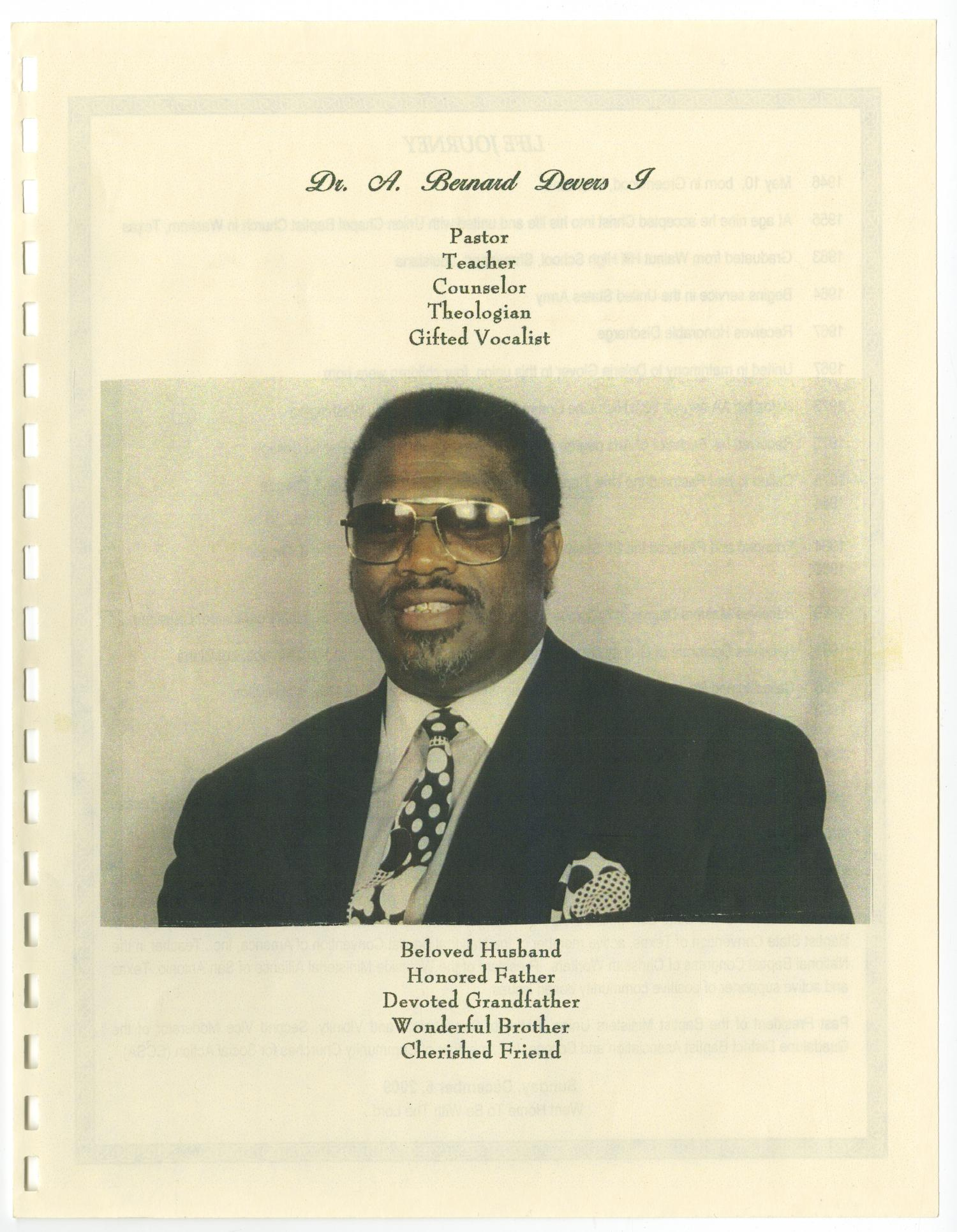 [Funeral Program for A. Bernard Devers I, December 16, 2009]                                                                                                      [Sequence #]: 3 of 12