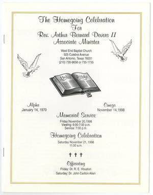 Primary view of object titled '[Funeral Program for Arthur Bernard Devers II, November 20, 1998]'.